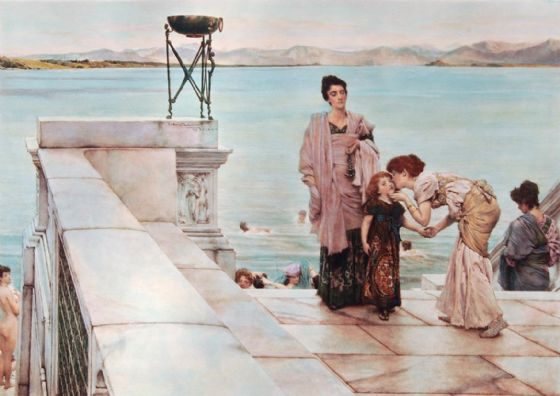 Alma-Tadema, Sir Lawrence: A Kiss. Fine Art Print/Poster. Sizes: A4/A3/A2/A1 (003802)